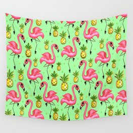 Flamingos with Pineapples Wall Tapestry