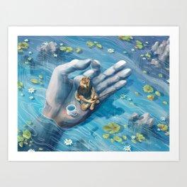 Shiba Fishing Art Print