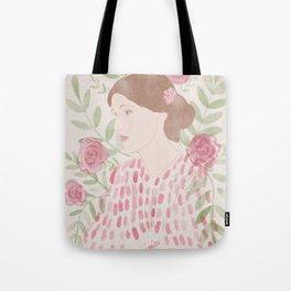 Virginia Woolf Floral Watercolor Tote Bag