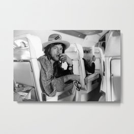 Mick#Jagger vintage photo in a plane, housewarming gift for him her Metal Print