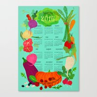 calender Canvas Prints featuring Veggie Calender 2016 by Elisandra