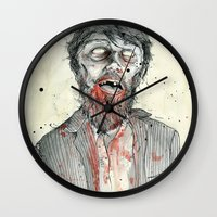 zombie Wall Clocks featuring Zombie! by Chris Gauvain