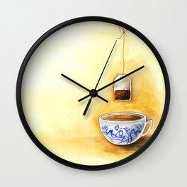 A cup of tea watercolor illustration Wall Clock