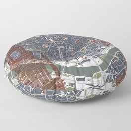 Seville city map engraving Floor Pillow