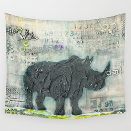 Majestic Series: Rhino on a roll Wall Tapestry
