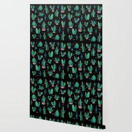 Cactus Pattern at Night Wallpaper