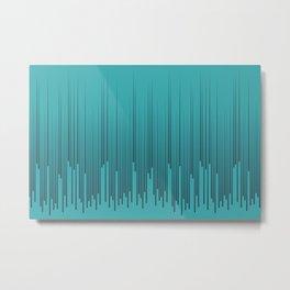 Navy Blue Minimal Frequency Line Art Pattern on Aqua Teal Turquoise - Aquarium SW 6767 Metal Print