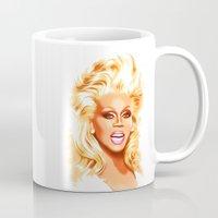rupaul Mugs featuring RuPaul - Supermodel - Pop Art by William Cuccio aka WCSmack