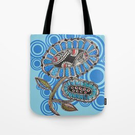 Madhubani - Blue Fish Flower2 Tote Bag