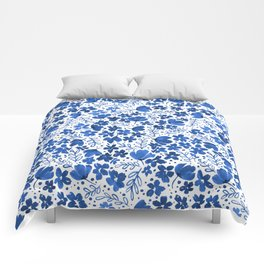 Blue Watercolor Flowers China Pattern Comforters