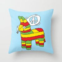 rasta Throw Pillows featuring Rasta pinata by Dmitriylo