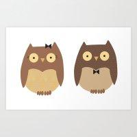 owls Art Prints featuring Owls by sheena hisiro