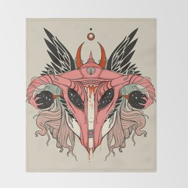 Shield Maiden Uterus & Ovary Helmet Throw Blanket