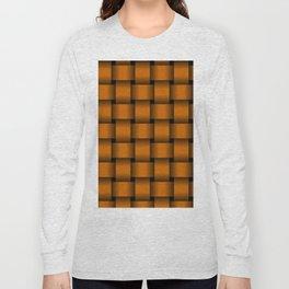 Large Dark Orange Weave Long Sleeve T-shirt
