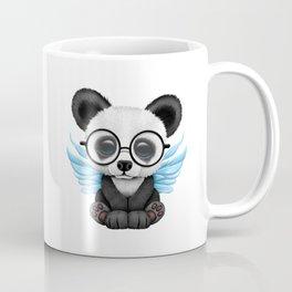 Cute Panda Cub with Fairy Wings and Glasses Blue Coffee Mug