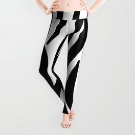 abstract modern safari animal black and white zebra print Leggings