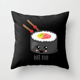 Eat Me in black Throw Pillow
