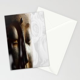 Buddha's face with faded white roses Stationery Cards