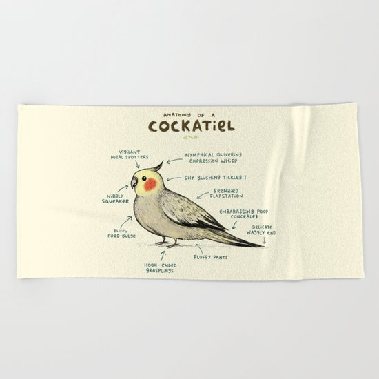 Anatomy of a Cockatiel Beach Towel
