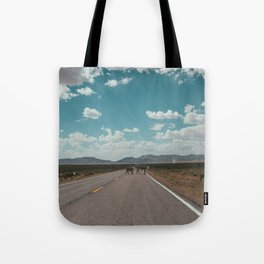 cows on the open road Tote Bag