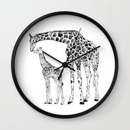Giraffes, black and white Wall Clock