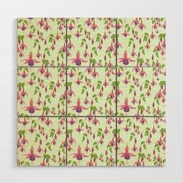 Watercolour Fuchsia Flower Pattern - Mint Wood Wall Art