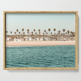Vintage Newport Beach Print {1 of 4} | Photography Ocean Palm Trees Teal Tropical Summer Sky Serving Tray