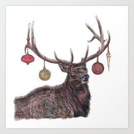 Elk with Baubles Art Print