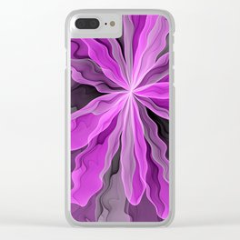 Abstract With Magenta, Modern Fractal Art Clear iPhone Case