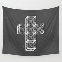 cross Wall Tapestries featuring Cross by Dizzy Moments
