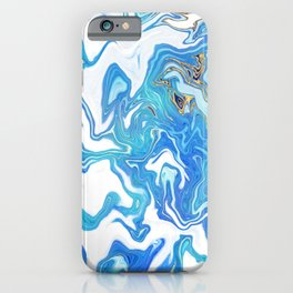 Blue and Gold Acrylic Ink Pour iPhone Case