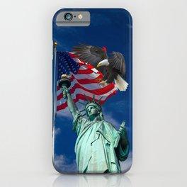 Bald Eagle a Lady Liberty iPhone Case
