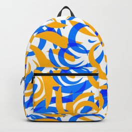 Pattern of mustard and blue doodles and curls in floral ornament in ethnic style on a white backgrou Backpack