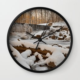 Winter Sunset Waterfall Wall Clock