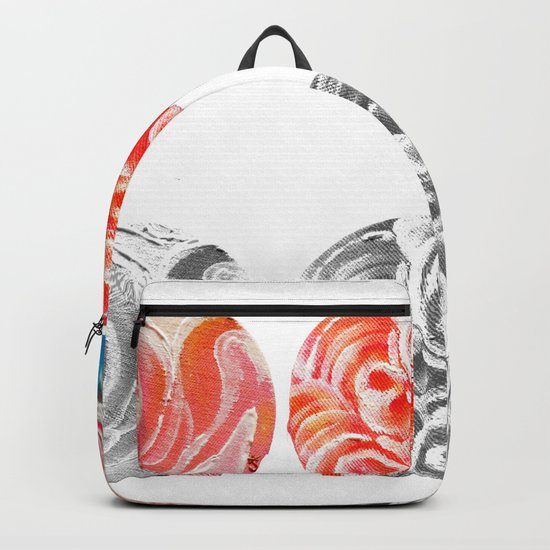 Roses Are Cream, Five Marbles and Circles of Shadow Reflection Backpack