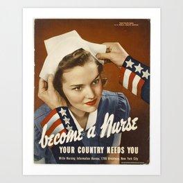 Become a Nurse, Mid-Century Recruitment Poster, Nurses, New York Art Print