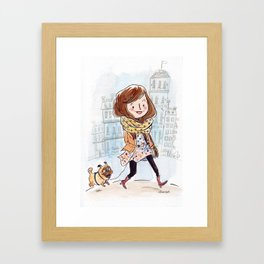 Walk in Quebec city with Marty Woof-Woof Framed Art Print