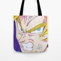 goku Tote Bags featuring Goku DBZ by DeMoose_Art