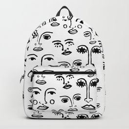 Funky Faces in White Backpack