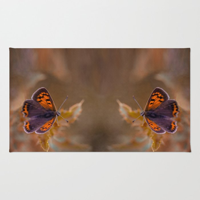 Small Copper butterfly Rug