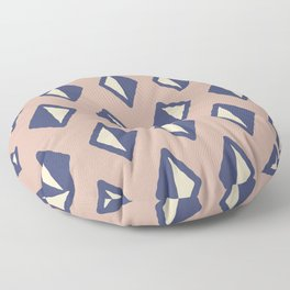 Diamond Pattern Beige and Blue Floor Pillow