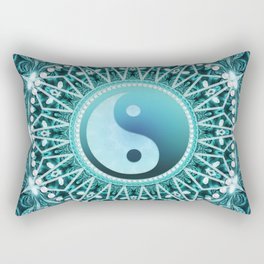 Tranquility Yin Yang Blue Aqua Mandala Rectangular Pillow