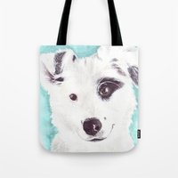 border collie Tote Bags featuring Border collie by Art by Frydendal