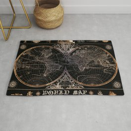 world map old vintage black Rug