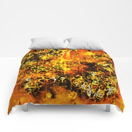 bees fill honeycombs in hive splatter watercolor Comforters
