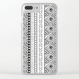 White Mudcloth Clear iPhone Case