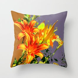 Serene Orange Daylilies Grey-Brown Abstract Throw Pillow