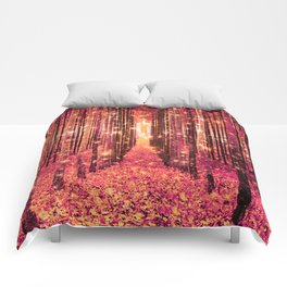 Magical Forest Pink Living Coral Peach Comforters