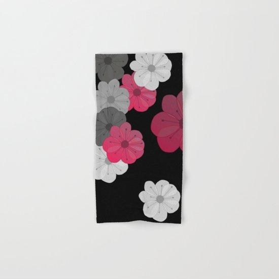 Pink and Black Flowers Design Hand & Bath Towel