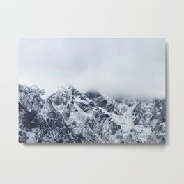 Majestic mountains below clouds Metal Print